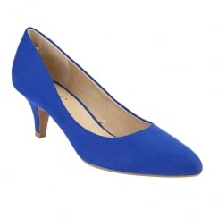 Lotus Clio Blue Microfibre Low Pointed Toe Court Shoes