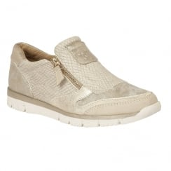 Lotus Ladies' Marigold Beige Snake Printed Zip-Up Shoes