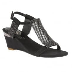 Lotus Ladies' Klaudia Black Chainmail Wedge Sandals