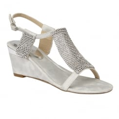 Lotus Ladies' Klaudia Silver Chainmail Wedge Sandals
