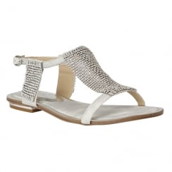 Lotus Ladies' Agnetha Silver Chainmail Flat Sandals