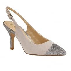 Lotus Arlind Grey & Pewter Glitz Sling-Back Court Shoes
