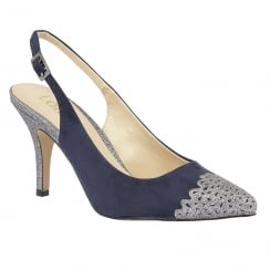 Lotus Arlind Navy Glitz Sling-Back Court Shoes