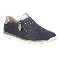 Lotus Ferruccio Navy Diamante Zip-Up Trainers