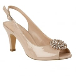 Lotus Elodie Nude Patent Sling-Back Open Toe Heeled Shoes