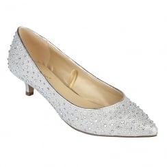 Lotus Pinnacle Silver Diamante Kitten Heel Court Shoes