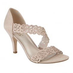 Lotus Cattleya Nude & Diamante Open-Toe Heeled Sandals