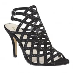 Lotus Cazadora Black & Diamante Heeled Sandals