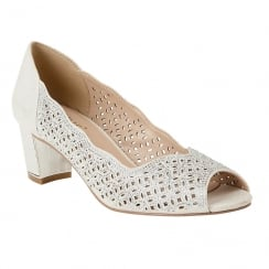 Lotus Attica Silver Diamante Open-Toe Shoes