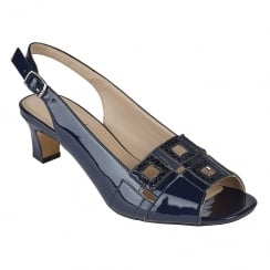 Lotus Aubrey Navy Open-Toe Sling-Back Low Heel Sandals