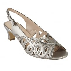 Lotus Marianna Pewter Open-Toe Sling-Back Low Heel Sandal
