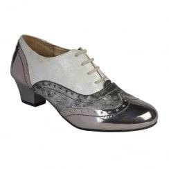Lotus Polaris Pewter Low Heeled Brogues Shoes