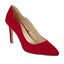 Lotus Tyler Red Microfibre Court Shoes