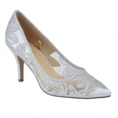 Lotus Womens Groove Silver Glitz Court Shoes