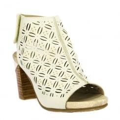 Laura Vita Bernie Beige Peep Toe Heeled Sandals