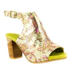 Laura Vita Bernie Green/Gold Peep Toe Open Heel Sandals