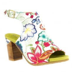 Laura Vita Bernie White/Multi Peep Toe Open Heel Sandals