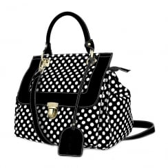 Laura Vita Womens Docus Black & White Dots Leather Handbag