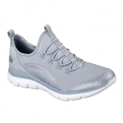 Skechers Womens Flex Appeal 2.0 Mixed Media Blue Sneakers
