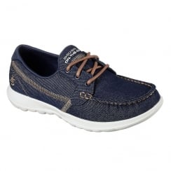 Skechers Womens GOwalk Lite Shore Denim Comfort Boat Shoe