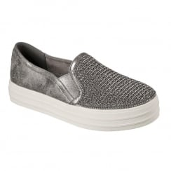 Skechers Womens Double Up Shiny Dancer Pewter Slip On Trainers