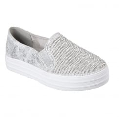 Skechers Womens Double Up Shiny Dancer Silver Slip On Trainers