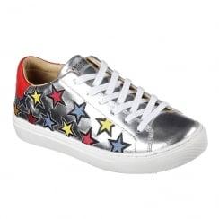 Skechers Womens Side Street Star Side Silver Leather Shoe