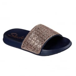 Skechers Womens Take Summer Chic Slide Navy/Rose Gold Slip On Sandals