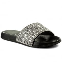 Skechers Womens Take Summer Chic Slide Black/Silver Slip On Sandals