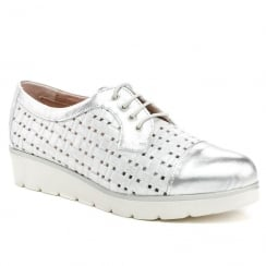 Pitillos Womens Silver Metallic Flatform Lace Brogue