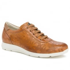 Pitillos Womens Tan Leather Lace Up Classic Sports Shoes