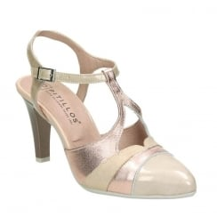 Pitillos Womens Nude & Rose Gold T-bar Court High Heels