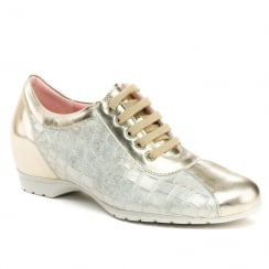 Pitillos Womens Gold Lace Up Low Wedge Shoes