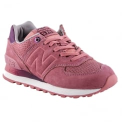 New Balance Womens 574 Pink Suede Sneakers