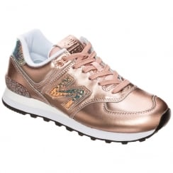 New Balance Womens 574 Metallic Rose Gold Sneakers