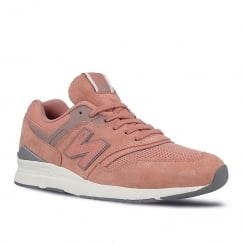 New Balance Womens 697 Dusty Pink Suede Sneakers