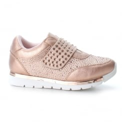 XTI Girls Rose Gold Embellished Wedge Velcro Sneakers