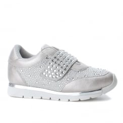 XTI Girls Silver Embellished Wedge Velcro Sneakers