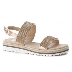 XTI Girls Rose Gold Embellished Rope Sole Flat Sandals