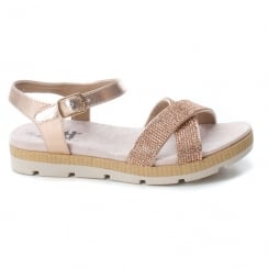 XTI Girls Rose Gold Embellished Flat Sandals