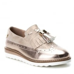 XTI Girls Rose Gold Slip On Tassel Brogue Shoes