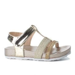 XTI Girls Gold Embellished T-Bar Flat Sandals