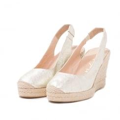 Unisa CUBELA Slingback Platinum Wedge Espadrille Sandals
