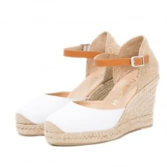 Unisa CASTILLA Ankle Buckle White Wedge Espadrille Sandals