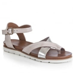 Jocee and Gee Womens Bluebell Silver Flat Sandals