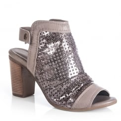Jocee and Gee Bouvardia Gunmetal Heeled Peep Toe Sandals