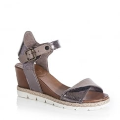 Jocee and Gee Clover Gunmetal Heeled Wedge Sandals