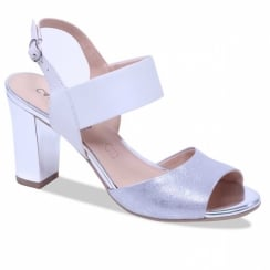 Caprice White And Silver Leather Block Heeled Sandals