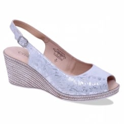 Caprice Metallic Grey Shiny Wedge Sandals