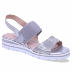 Caprice Light Grey Low Wedge Sandals
